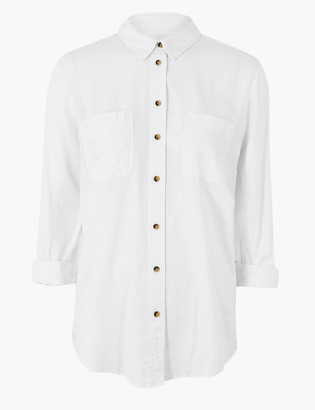 Marks and Spencer Linen Blend Relaxed Long Sleeve Shirt