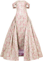 Christian Siriano column evening gown with overskirt