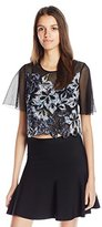 Rebecca Taylor Women's Short Sleeve Floral Applique Embroidered Top