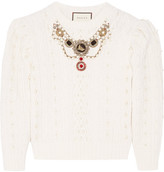 Gucci Embellished Cable-knit Wool And Cashmere-blend Sweater - Cream