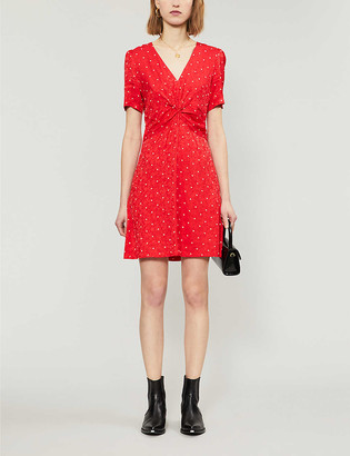 Maje Ripia polka-dot jacquard mini dress