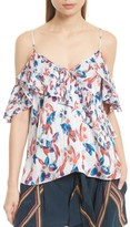 Tanya Taylor Women's Chiara Floral Ikat Cold Shoulder Silk Top