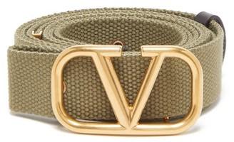 Valentino V-logo Canvas Belt - Green