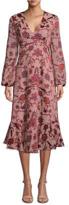 Nicole Miller Ruffle-Hem Floral-Print Dress