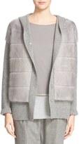 Fabiana Filippi Women's Hooded Cashmere Sweater With Genuine Mink Fur Overlay