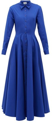 Evi Grintela Majorelle Cotton-blend Poplin Maxi Shirt Dress - Womens - Blue