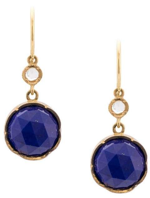 813db52267b16 18kt yellow gold Round Rose Cut Lapis And Diamond earrings