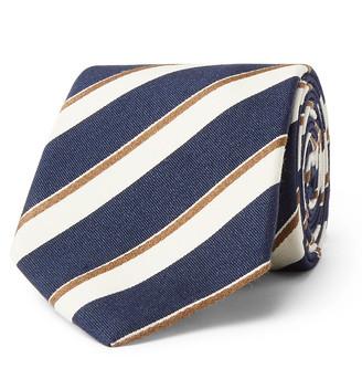 Bigi 8cm Striped Silk And Cotton-Blend Tie