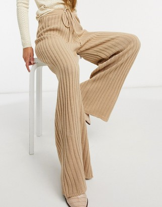 In The Style x Lorna Luxe lullaby ribbed wide leg pants in brown