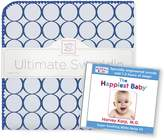 Swaddle Designs Ultimate Swaddle Blanket + The Happiest Baby CD Bundle, Jewel Tone Mod Circles, True Blue