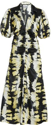 Ganni Printed Silk-Satin Maxi Dress