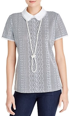 Karl Lagerfeld Paris Collared Lace Top