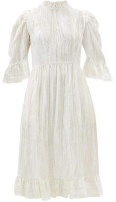 Batsheva Crystal-button Ruffled Cotton-velvet Dress - Womens - Ivory