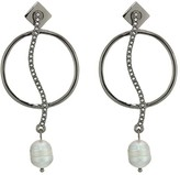 Vince Camuto Organic Pearl Drops Earrings (Hematite/Crystal/Light Gray Pearl) Earring