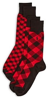 Polo Ralph Lauren Mixed Buffalo Check Dress Socks - Pack of 2