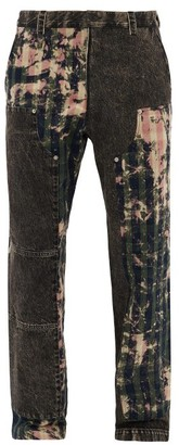 Versace Bleached-patchwork Cotton Straight-leg Jeans - Dark Green