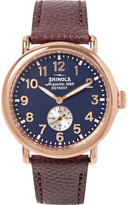 Shinola The Runwell 41mm PVD Rose Gold-Plated and Pebble-Grain Leather Watch