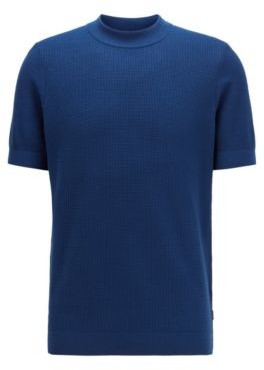 HUGO BOSS Short Sleeved Knitted Sweater In Structured Cotton - Dark Blue