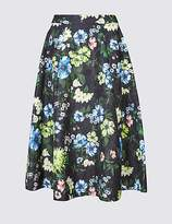 M&S Collection Jacquard Floral Print A-Line Midi Skirt