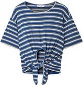 Opening Ceremony Tie-front Striped Ribbed-knit T-shirt - Blue