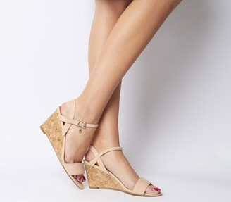 Office Maxima Low Cork Wedges Nude