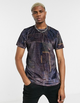 Topman velvet paisley t-shirt in purple