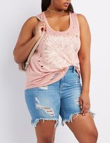 Charlotte Russe Plus Size Destroyed Graphic Tank Top