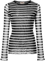 Fuzzi striped V-neck top