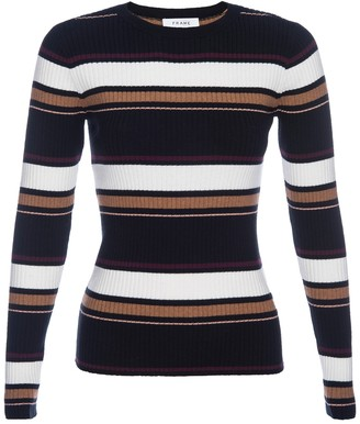 Frame Panel Striped Ribbed Knit Sweater