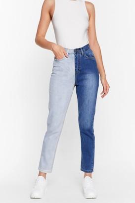 Nasty Gal Womens Step Two-Tone High-Waisted Mom Jeans - Blue - 4, Blue