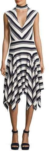 Derek Lam 10 Crosby Sleeveless Mitered Stripe Stretch Jersey Dress, Navy/White