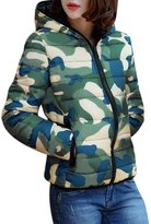 uxcell Women Camouflage Prints Zipper Front Long Sleeves Hoodie Padded Coat