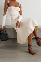 Thumbnail for your product : Isa Boulder Reality Cold-shoulder Ribbed-knit Midi Dress - Cream