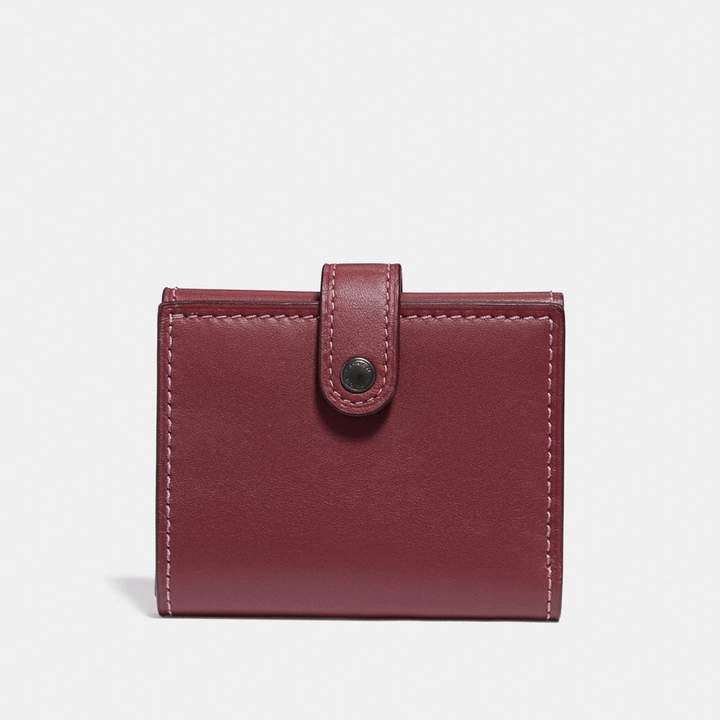 Coach Small Trifold Wallet With Rose Print Interior
