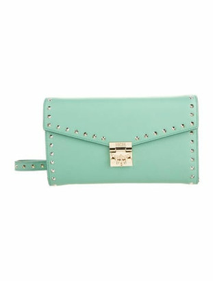 MCM Studded Patricia Wallet On Chain Green