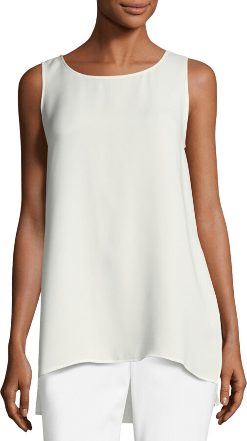 Thumbnail for your product : Lafayette 148 New York Ruthie Sleeveless High-Low Hem Silk Blouse