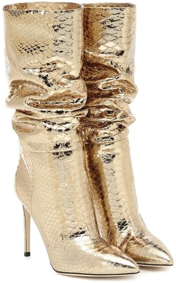 Paris Texas Snake-effect metallic leather boots