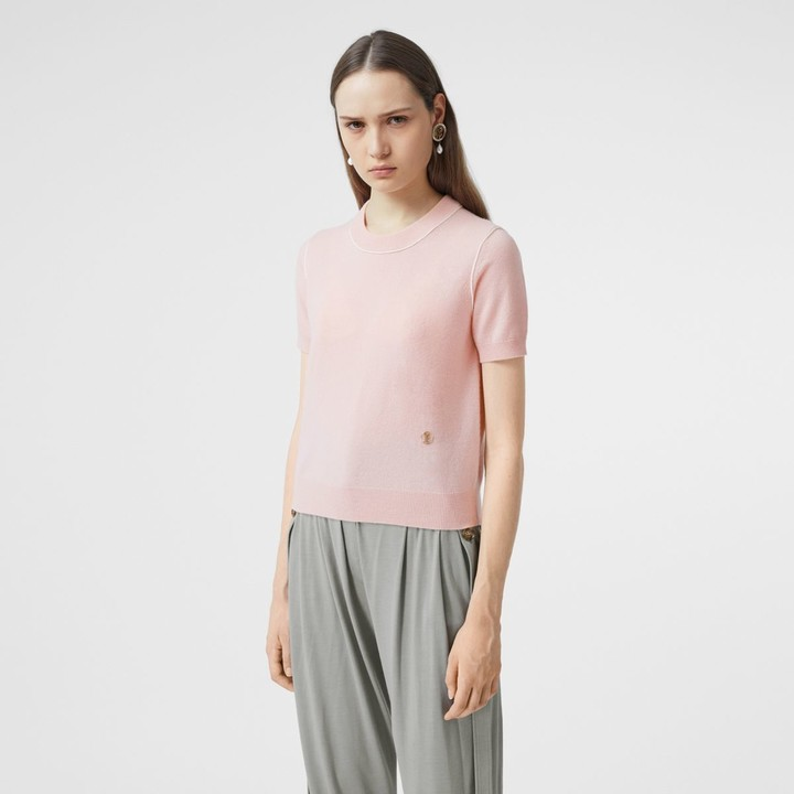 Burberry Short-seeve Monogram Motif Cashmere Top