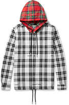 Off-White Printed Embroidered Checked Cotton-Blend Hoodie