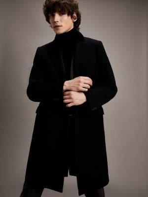 Tommy Hilfiger Velvet Collar Slim Fit Overcoat
