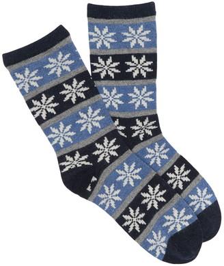 Me Moi Flake Fair Isle Print Crew Socks