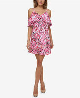 Jessica Simpson Printed Cold-Shoulder Popover Dress