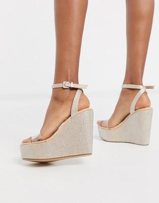 Public Desire Pizzaze rhinestone wedge sandal in beige