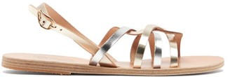 Ancient Greek Sandals Schinousa Metallic-leather Slingback Sandals - Silver Gold