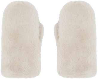Yves Salomon Off-White Convertible Wool Mittens