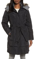 London Fog Women's Down Coat With Faux Fur Trim