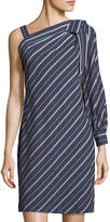 Label by 5Twelve One-Sleeve Bow-Shoulder Striped Dress