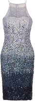 Badgley Mischka Dégradé sequined tulle dress