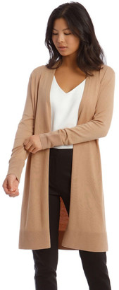 Basque Long Line Cardi Ribbed Detail