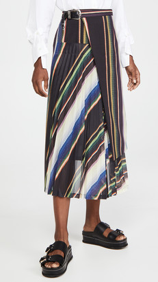 Toga Pulla Suiting Wool Pleated Skirt Stripe